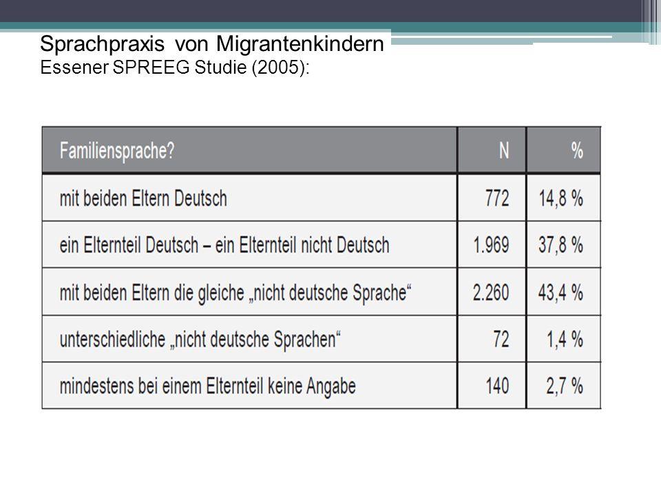 Sprachpraxis von Migrantenkindern Essener SPREEG Studie (2005):