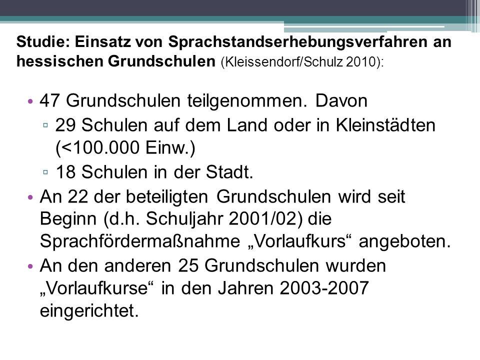 Studie: Einsatz von Sprachstandserhebungsverfahren an hessischen Grundschulen (Kleissendorf/Schulz 2010): 47 Grundschulen teilgenommen. Davon ▫ 29 Sch