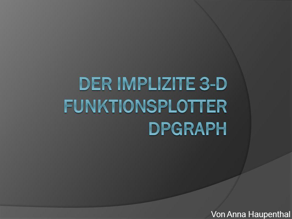 Quellen  Crashcurs DPGraph  http://www.dpgraph.com/ http://www.dpgraph.com/  http://www.math.uni-sb.de/ag/schreyer/ http://www.math.uni-sb.de/ag/schreyer/  http://people.richland.edu/james/summer03 /m221/tech/dpgraph.pdf http://people.richland.edu/james/summer03 /m221/tech/dpgraph.pdf  http://de.wikipedia.org/wiki/Plotter http://de.wikipedia.org/wiki/Plotter  http://de.wikipedia.org/wiki/Satz_von_der_i mpliziten_Funktion http://de.wikipedia.org/wiki/Satz_von_der_i mpliziten_Funktion  http://www.media-freaks.com/squidoo- pics/3danimationstudio/mario2d3d.jpg http://www.media-freaks.com/squidoo- pics/3danimationstudio/mario2d3d.jpg Internetquellen besucht am 12.05.11 11:23 Uhr