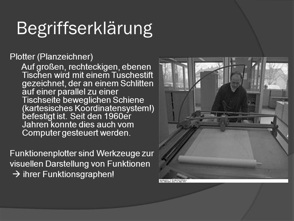Begriffserklärung Plotter (Planzeichner) Auf großen, rechteckigen, ebenen Tischen wird mit einem Tuschestift gezeichnet, der an einem Schlitten auf einer parallel zu einer Tischseite beweglichen Schiene (kartesisches Koordinatensystem!) befestigt ist.