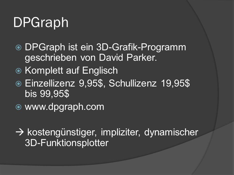 DPGraph OptionErklärung OpenÖffnet.dpg files (Dokumente) EditEingabefenster ScrollbarFunktion der Scrollbar definieren ColorÄndert die Farbe des Graphen BackgroundÄndert die Hintergrundfarbe AnimateLässt den Graphen rotieren VideoMode- ohne Funktion - SaveSpeichern Print- ohne Funktion - ClipboardScreenshot in die Zwischenablage Internet-ohne Funktion – ExitSchließt das Programm HelpHilfe