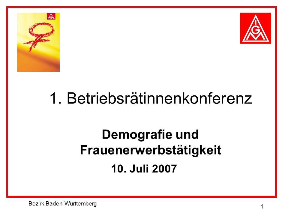 Bezirk Baden-Württemberg 1 1. Betriebsrätinnenkonferenz Demografie und Frauenerwerbstätigkeit 10. Juli 2007
