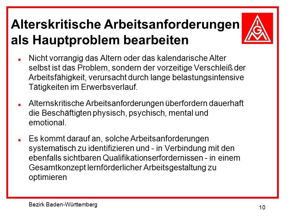 Bezirk Baden-Württemberg 10 Alterskritische Arbeitsanforderungen als Hauptproblem bearbeiten Nicht vorrangig das Altern oder das kalendarische Alter s