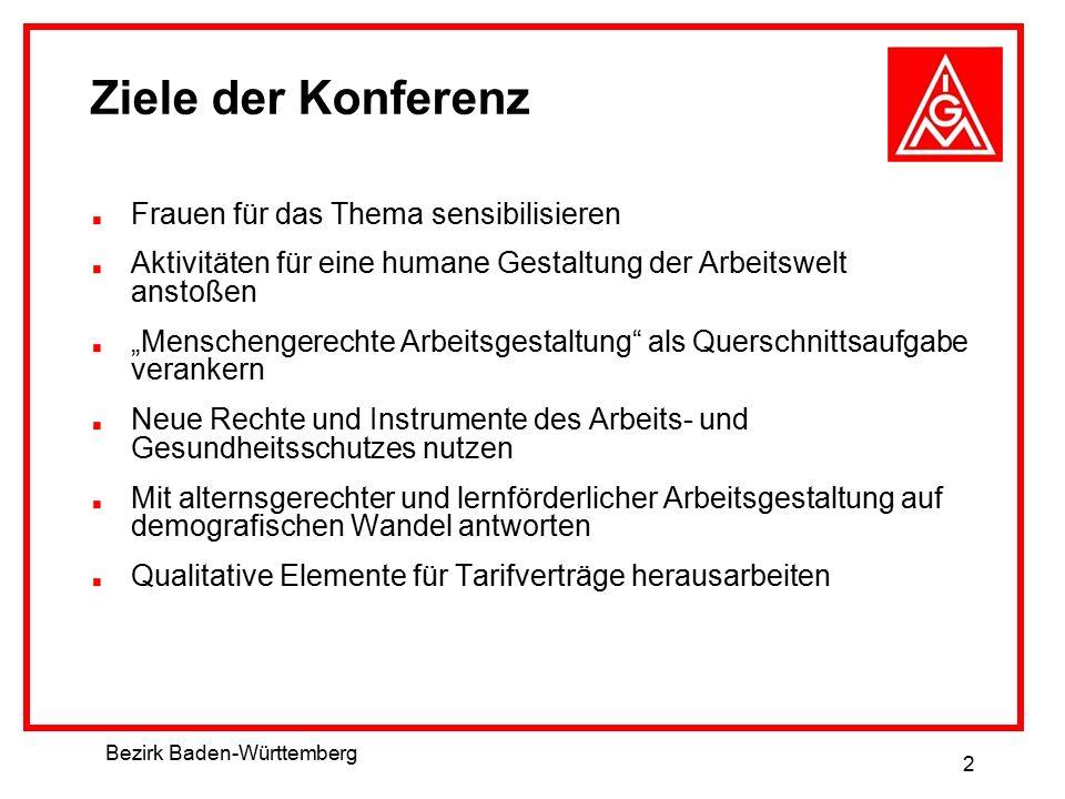 """Bezirk Baden-Württemberg 2 Ziele der Konferenz Frauen für das Thema sensibilisieren Aktivitäten für eine humane Gestaltung der Arbeitswelt anstoßen """"M"""