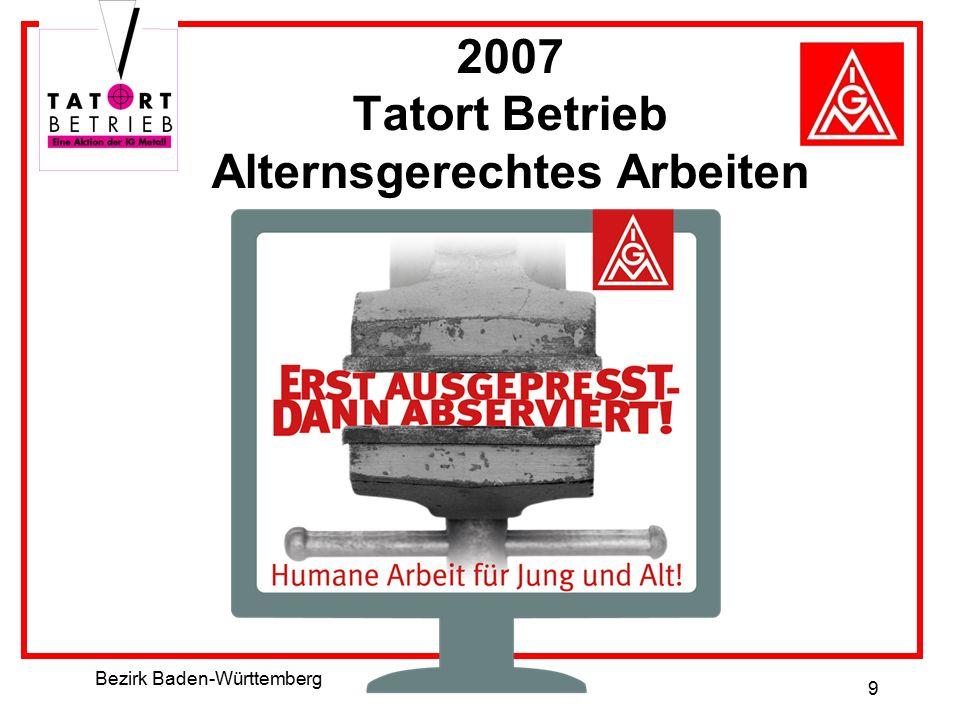 Bezirk Baden-Württemberg 9 2007 Tatort Betrieb Alternsgerechtes Arbeiten