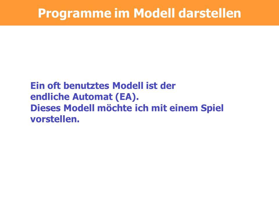 Programme im Modell darstellen Ein oft benutztes Modell ist der endliche Automat (EA).