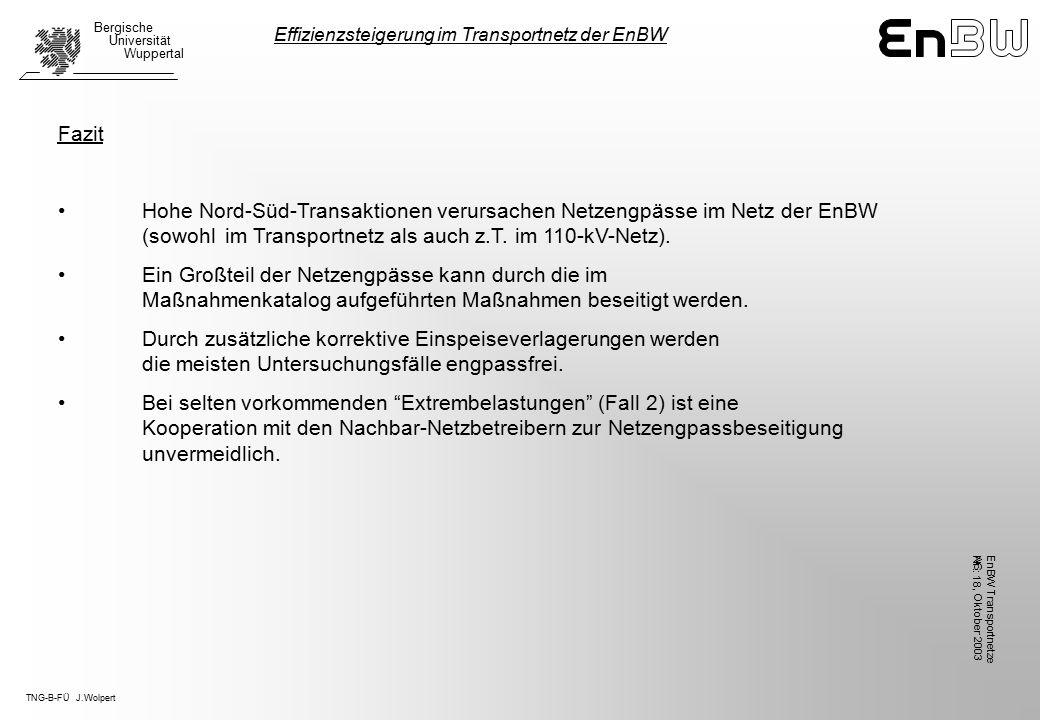 TNG-B-FÜ J.Wolpert Bergische Universität Wuppertal, Oktober 2003 EnBW TransportnetzeAG Nr.: 18 Fazit Hohe Nord-Süd-Transaktionen verursachen Netzengpässe im Netz der EnBW (sowohl im Transportnetz als auch z.T.