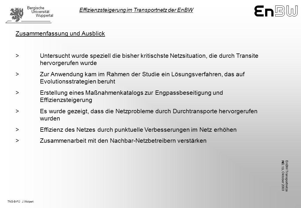 TNG-B-FÜ J.Wolpert Bergische Universität Wuppertal, Oktober 2003 EnBW TransportnetzeAG Nr.: 19 Zusammenfassung und Ausblick >Untersucht wurde speziell die bisher kritischste Netzsituation, die durch Transite hervorgerufen wurde > Zur Anwendung kam im Rahmen der Studie ein Lösungsverfahren, das auf Evolutionsstrategien beruht >Erstellung eines Maßnahmenkatalogs zur Engpassbeseitigung und Effizienzsteigerung > Es wurde gezeigt, dass die Netzprobleme durch Durchtransporte hervorgerufen wurden > Effizienz des Netzes durch punktuelle Verbesserungen im Netz erhöhen > Zusammenarbeit mit den Nachbar-Netzbetreibern verstärken Effizienzsteigerung im Transportnetz der EnBW