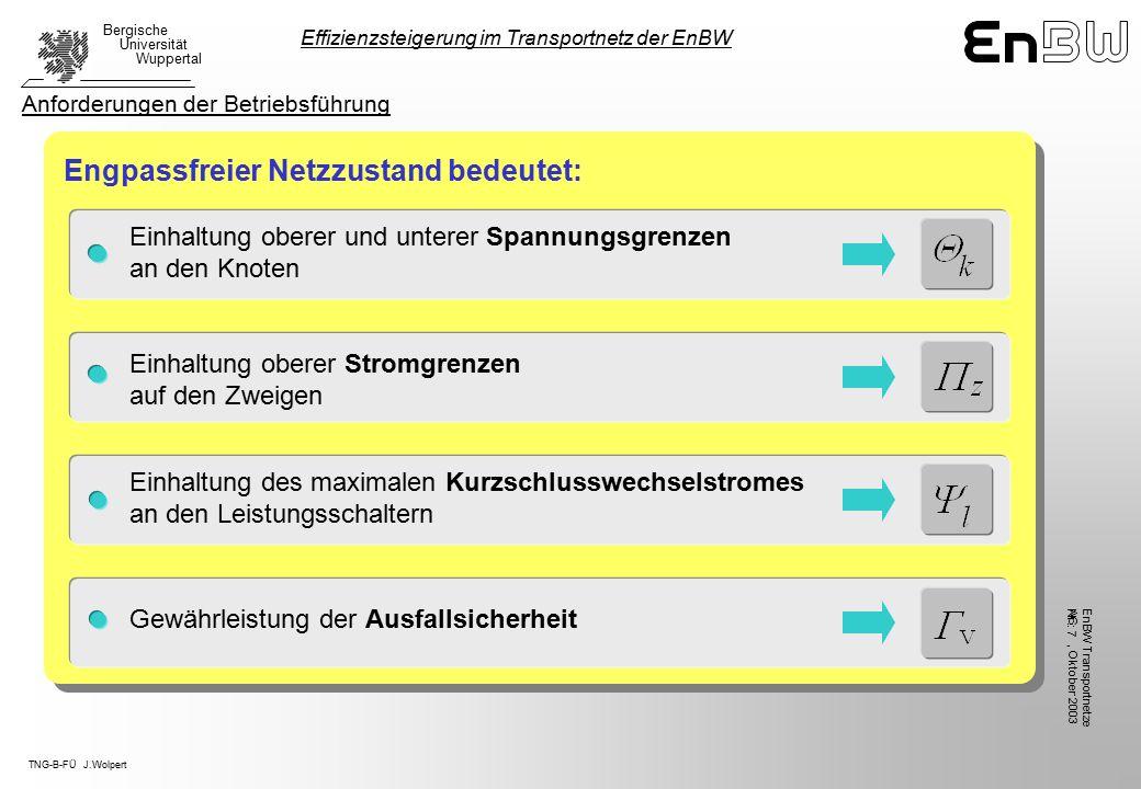 TNG-B-FÜ J.Wolpert Bergische Universität Wuppertal, Oktober 2003 EnBW TransportnetzeAG Nr.: 7 Einhaltung oberer und unterer Spannungsgrenzen an den Knoten Engpassfreier Netzzustand bedeutet: Einhaltung oberer Stromgrenzen auf den Zweigen Einhaltung des maximalen Kurzschlusswechselstromes an den Leistungsschaltern Gewährleistung der Ausfallsicherheit Effizienzsteigerung im Transportnetz der EnBW Anforderungen der Betriebsführung