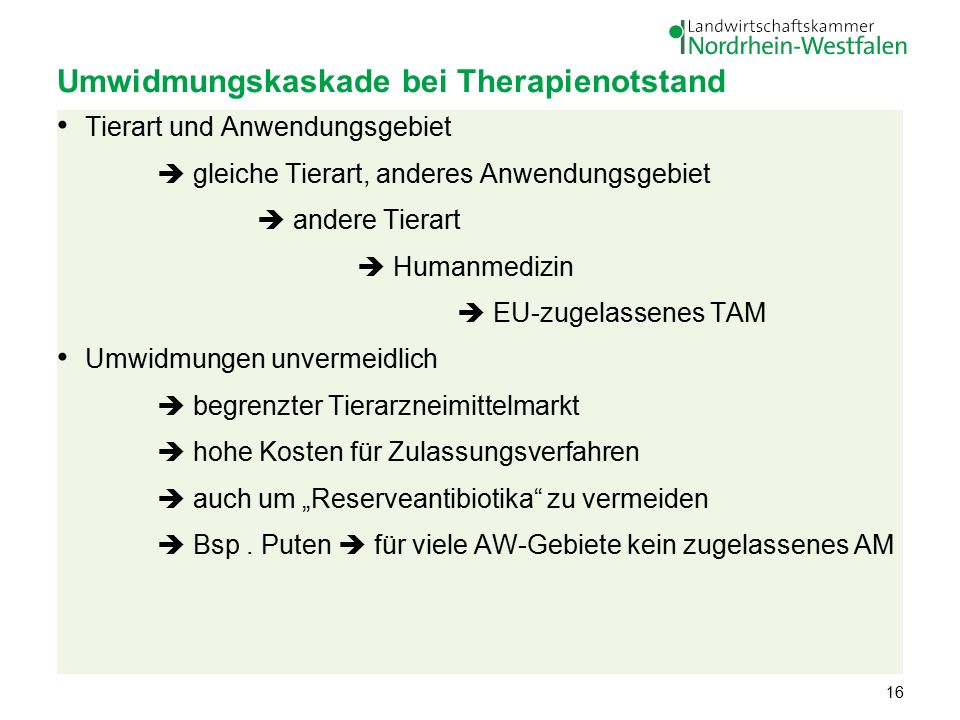 """Umwidmungskaskade bei Therapienotstand Tierart und Anwendungsgebiet  gleiche Tierart, anderes Anwendungsgebiet  andere Tierart  Humanmedizin  EU-zugelassenes TAM Umwidmungen unvermeidlich  begrenzter Tierarzneimittelmarkt  hohe Kosten für Zulassungsverfahren  auch um """"Reserveantibiotika zu vermeiden  Bsp."""