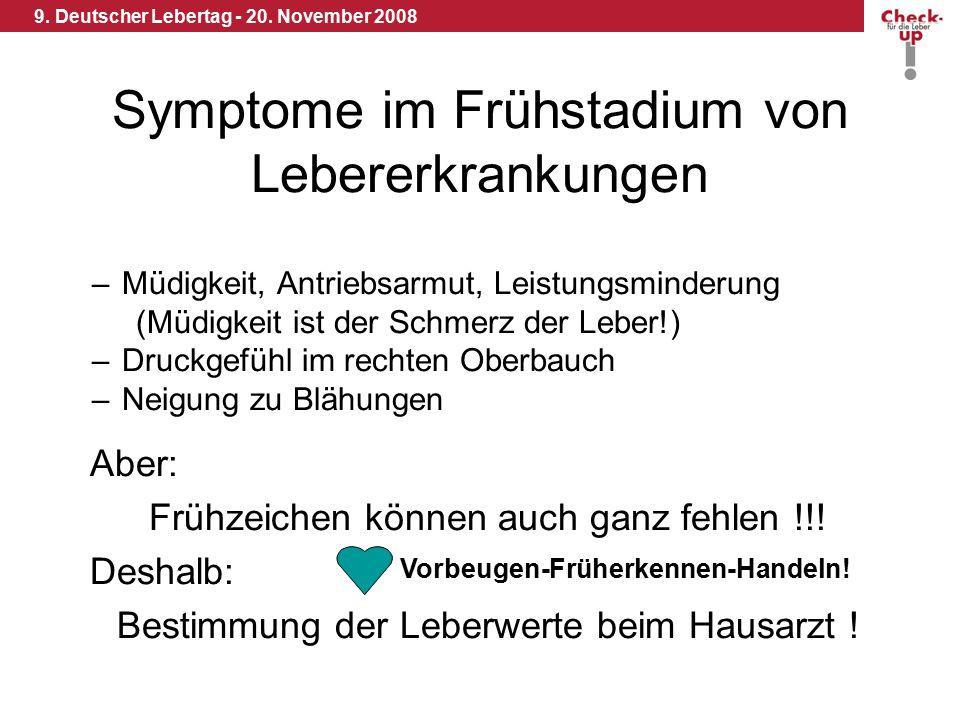 9. Deutscher Lebertag - 20. November 2008 Symptome im Frühstadium von Lebererkrankungen –Müdigkeit, Antriebsarmut, Leistungsminderung (Müdigkeit ist d