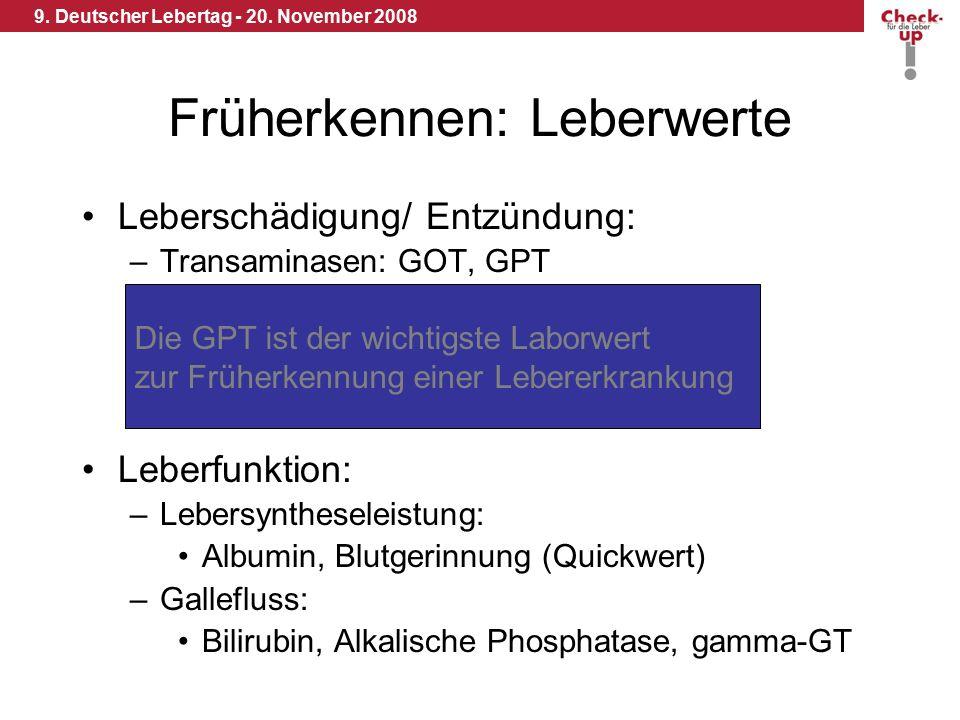 9. Deutscher Lebertag - 20. November 2008 Früherkennen: Leberwerte Leberschädigung/ Entzündung: –Transaminasen: GOT, GPT Leberfunktion: –Lebersynthese