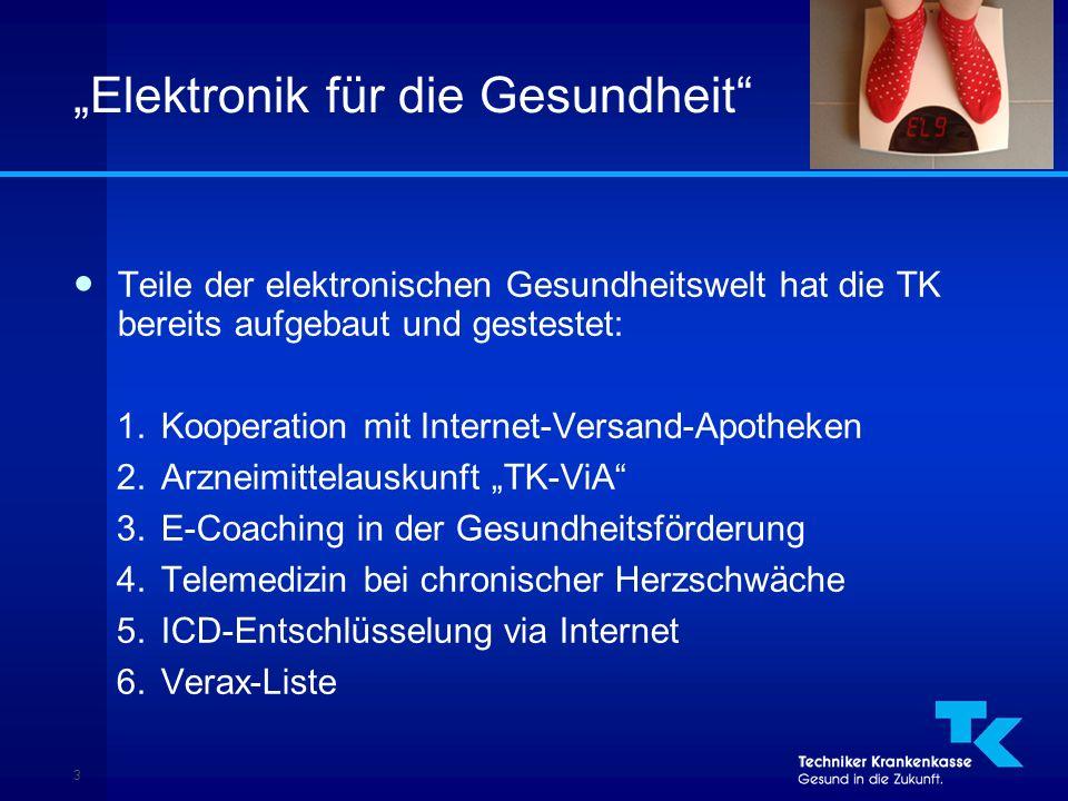 """3 """"Elektronik für die Gesundheit ● Teile der elektronischen Gesundheitswelt hat die TK bereits aufgebaut und gestestet: 1.Kooperation mit Internet-Versand-Apotheken 2.Arzneimittelauskunft """"TK-ViA 3.E-Coaching in der Gesundheitsförderung 4.Telemedizin bei chronischer Herzschwäche 5.ICD-Entschlüsselung via Internet 6.Verax-Liste"""