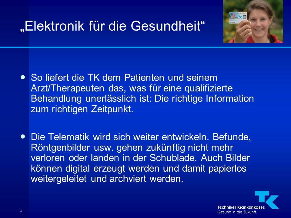 """4 """"Elektronik für die Gesundheit ● So liefert die TK dem Patienten und seinem Arzt/Therapeuten das, was für eine qualifizierte Behandlung unerlässlich ist: Die richtige Information zum richtigen Zeitpunkt."""