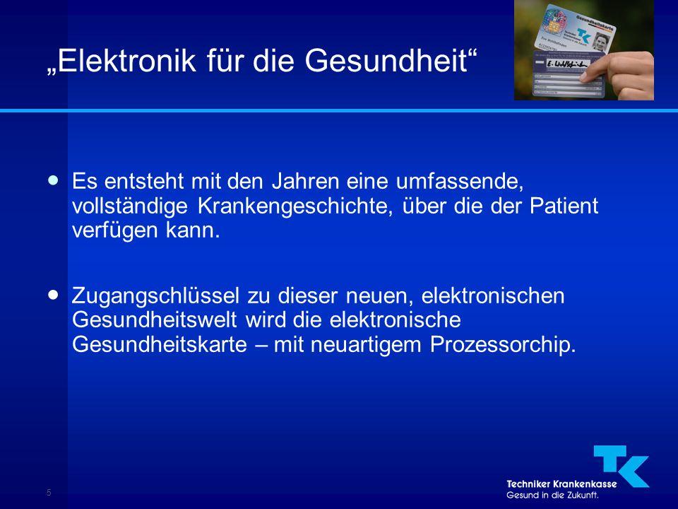 """5 """"Elektronik für die Gesundheit ● Es entsteht mit den Jahren eine umfassende, vollständige Krankengeschichte, über die der Patient verfügen kann."""