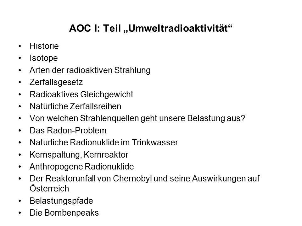 """AOC I: Teil """"Umweltradioaktivität Historie Isotope Arten der radioaktiven Strahlung Zerfallsgesetz Radioaktives Gleichgewicht Natürliche Zerfallsreihen Von welchen Strahlenquellen geht unsere Belastung aus."""