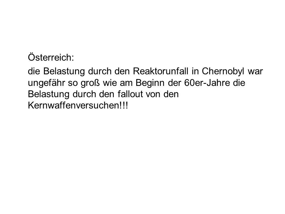 Österreich: die Belastung durch den Reaktorunfall in Chernobyl war ungefähr so groß wie am Beginn der 60er-Jahre die Belastung durch den fallout von den Kernwaffenversuchen!!!