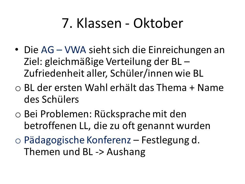 7. Klassen - Oktober Die AG – VWA sieht sich die Einreichungen an Ziel: gleichmäßige Verteilung der BL – Zufriedenheit aller, Schüler/innen wie BL o B