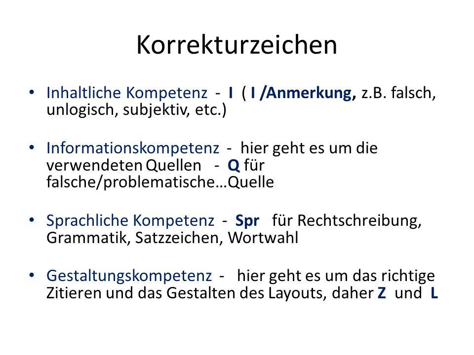 Korrekturzeichen Inhaltliche Kompetenz - I ( I /Anmerkung, z.B.