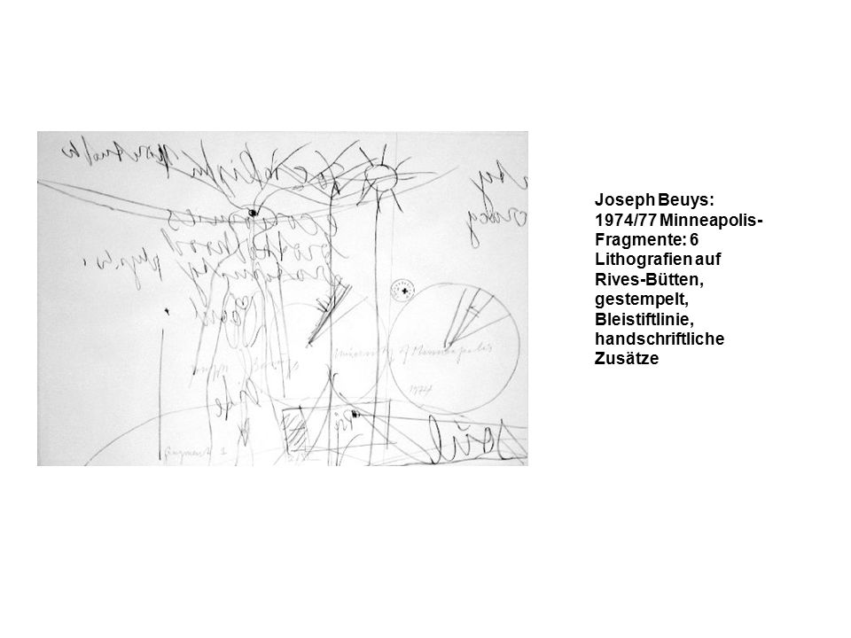 Joseph Beuys: 1974/77 Minneapolis- Fragmente: 6 Lithografien auf Rives-Bütten, gestempelt, Bleistiftlinie, handschriftliche Zusätze