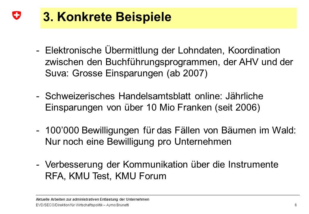 Aktuelle Arbeiten zur administrativen Entlastung der Unternehmen EVD/SECO/Direktion für Wirtschaftspolitik – Aymo Brunetti 6 3.