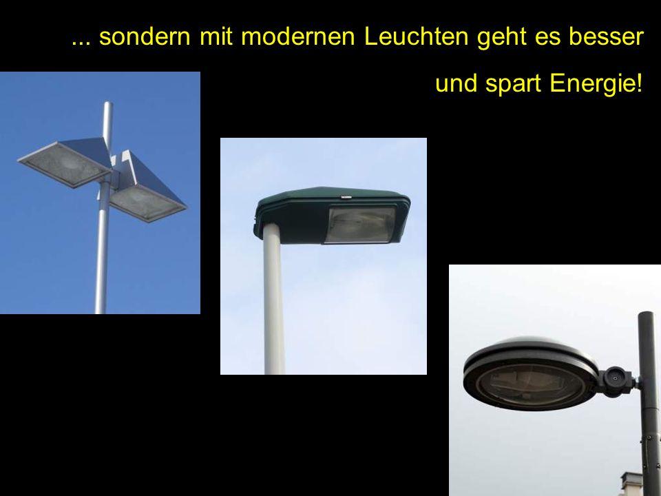 ... sondern mit modernen Leuchten geht es besser und spart Energie!