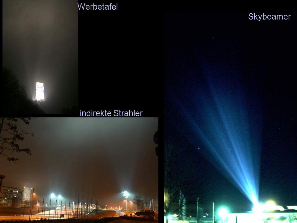 Werbetafel Skybeamer indirekte Strahler