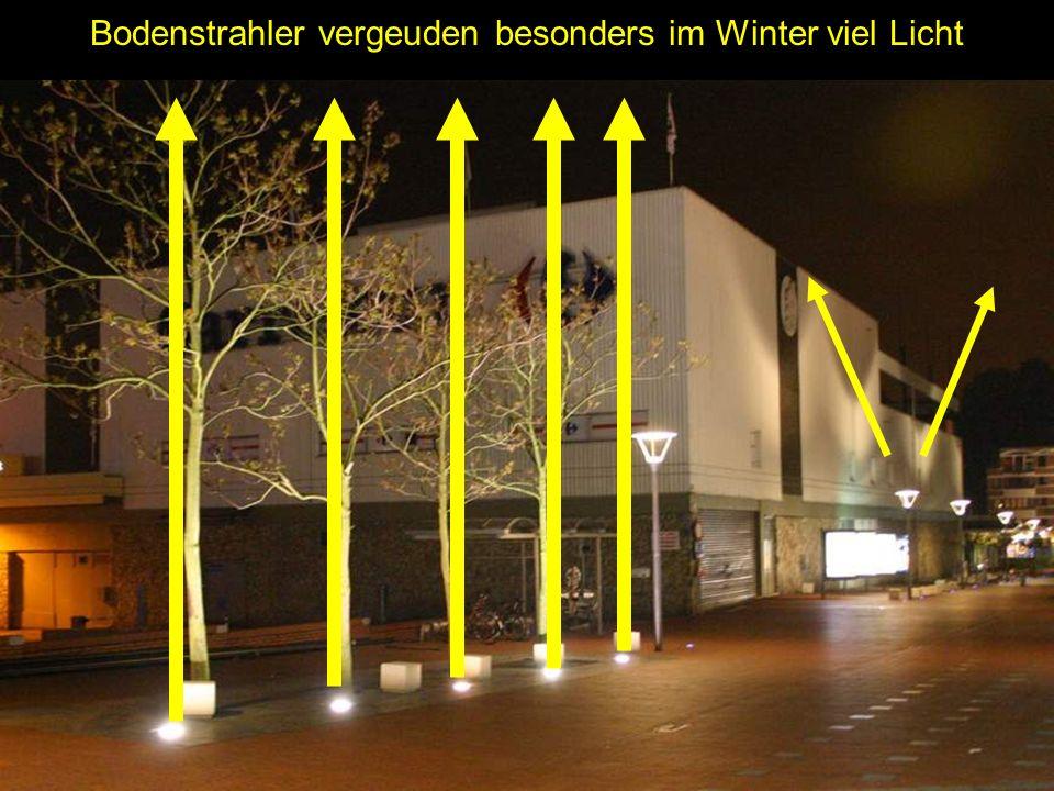 Bodenstrahler vergeuden besonders im Winter viel Licht