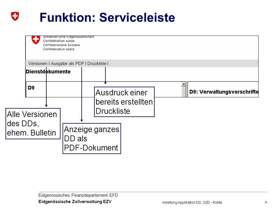 4 Eidgenössisches Finanzdepartement EFD Eidgenössische Zollverwaltung EZV Anleitung Applikation DD, OZD - KoMe Funktion: Serviceleiste Alle Versionen des DDs, ehem.