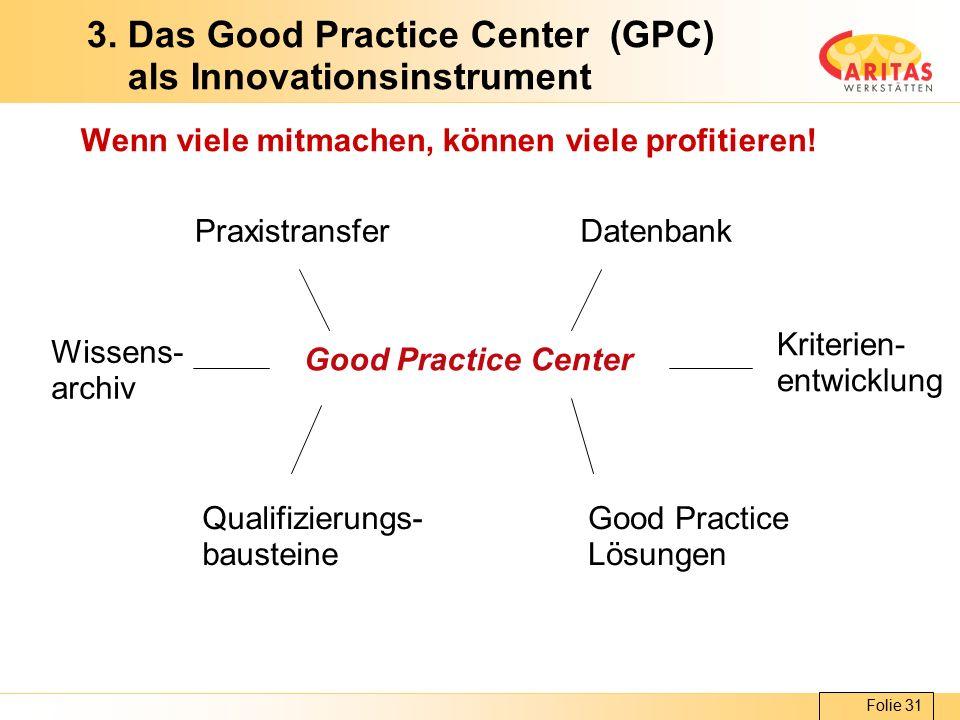 Folie 31 3. Das Good Practice Center (GPC) als Innovationsinstrument Wenn viele mitmachen, können viele profitieren! Good Practice Center Qualifizieru