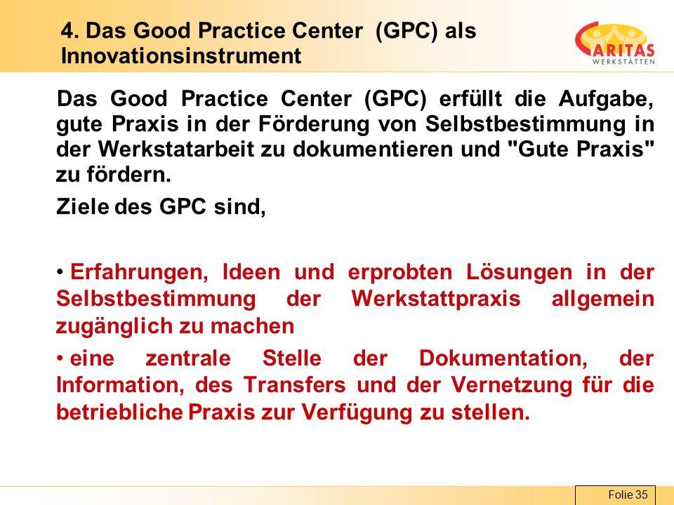 Folie 35 4. Das Good Practice Center (GPC) als Innovationsinstrument Das Good Practice Center (GPC) erfüllt die Aufgabe, gute Praxis in der Förderung