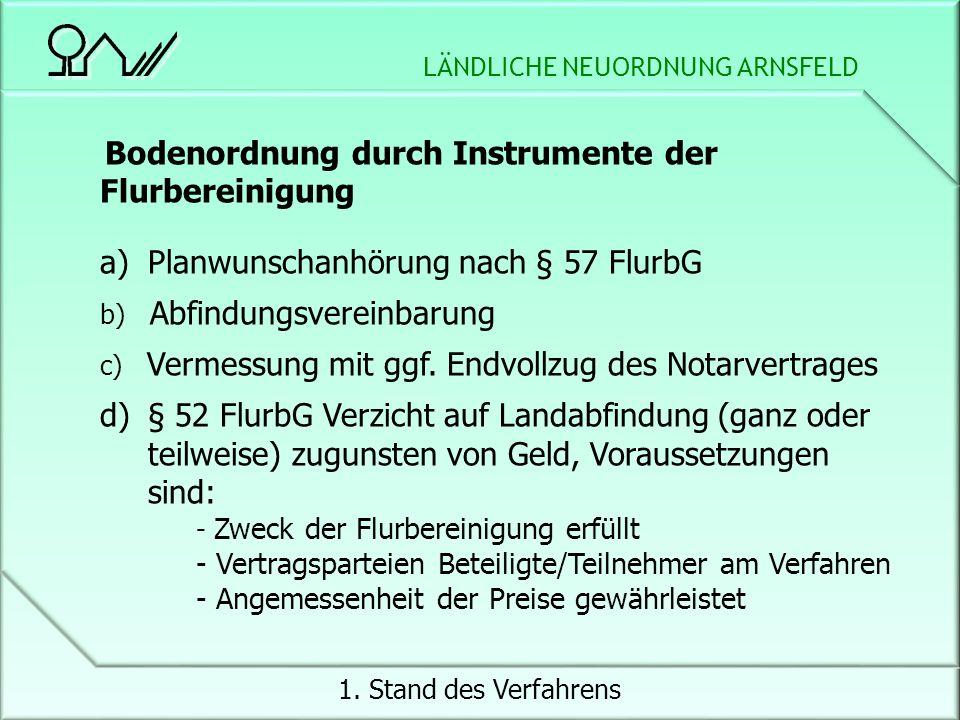 LÄNDLICHE NEUORDNUNG ARNSFELD 1.Stand des Verfahrens 3.