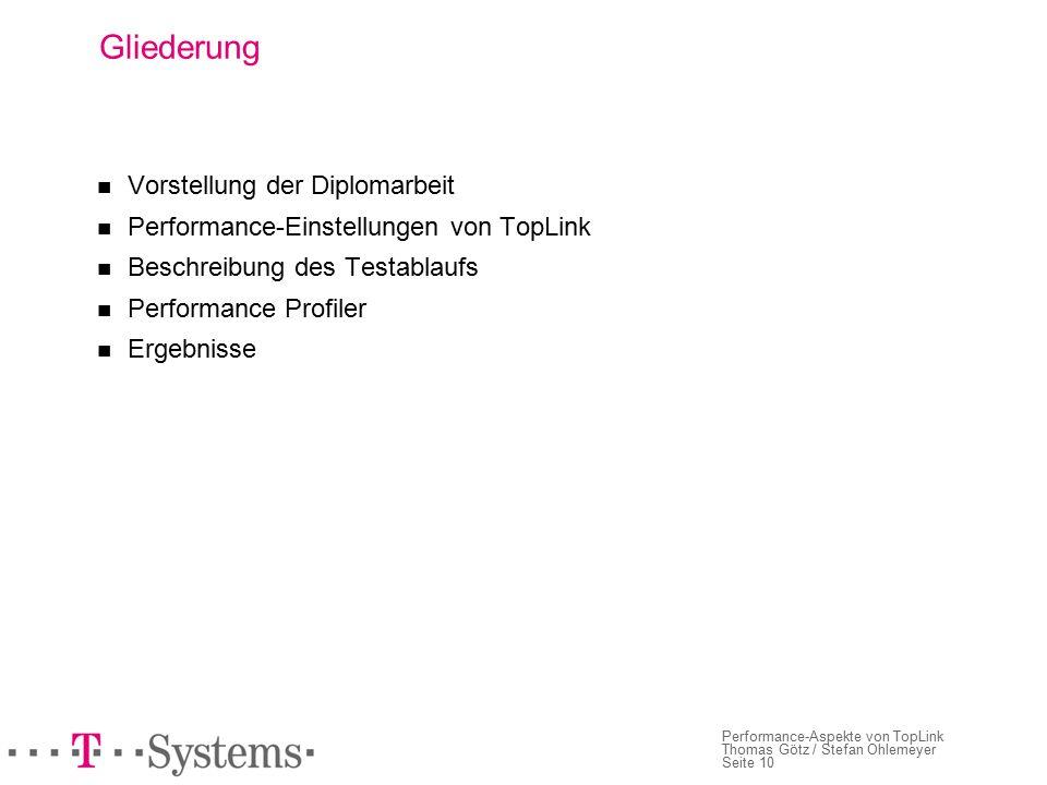 Seite 10 Performance-Aspekte von TopLink Thomas Götz / Stefan Ohlemeyer Gliederung Vorstellung der Diplomarbeit Performance-Einstellungen von TopLink Beschreibung des Testablaufs Performance Profiler Ergebnisse