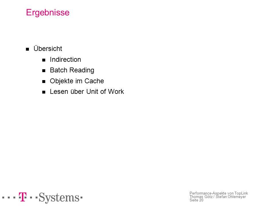 Seite 20 Performance-Aspekte von TopLink Thomas Götz / Stefan Ohlemeyer Ergebnisse Übersicht Indirection Batch Reading Objekte im Cache Lesen über Unit of Work