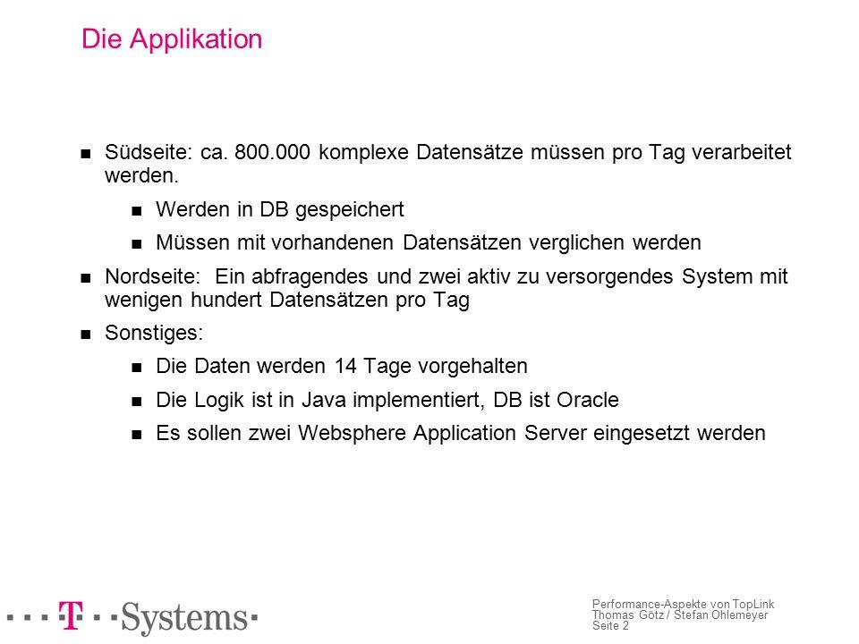 Seite 2 Performance-Aspekte von TopLink Thomas Götz / Stefan Ohlemeyer Die Applikation Südseite: ca.