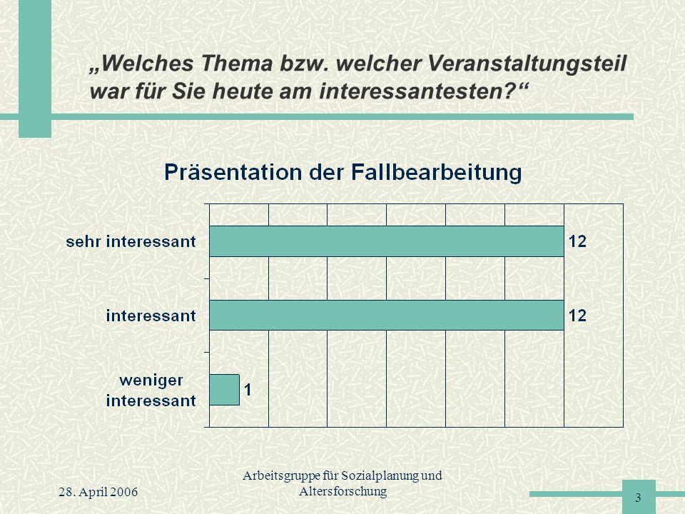 """28. April 2006 Arbeitsgruppe für Sozialplanung und Altersforschung 3 """"Welches Thema bzw."""