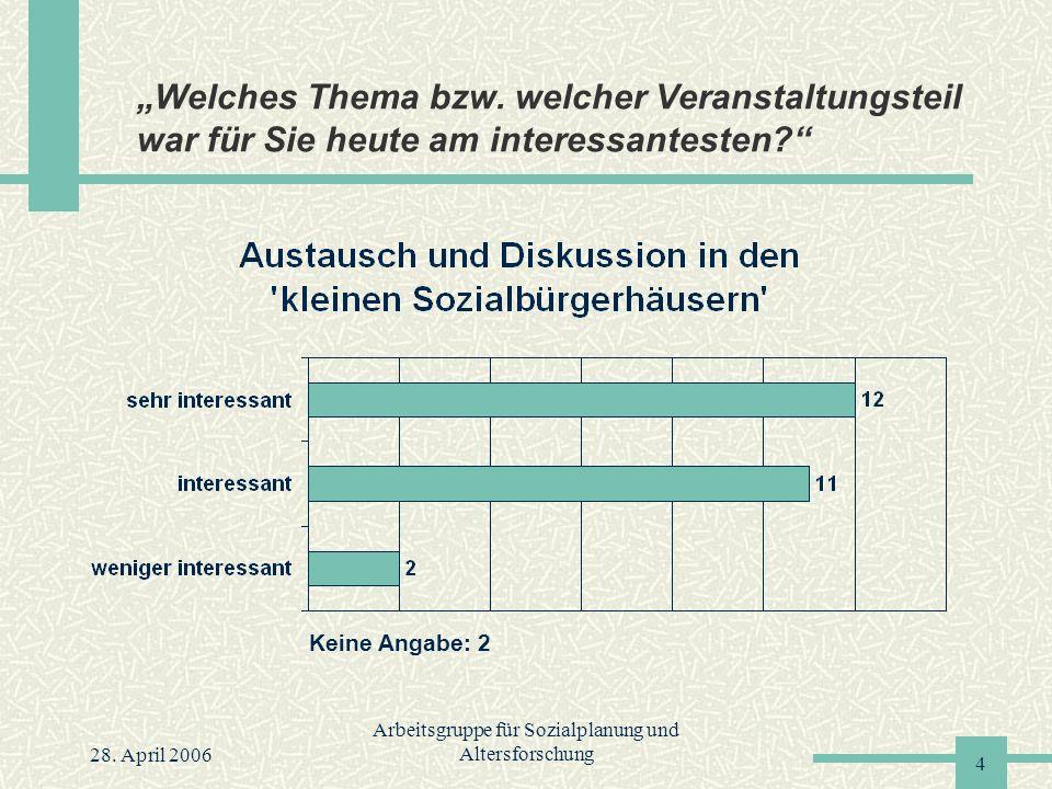 """28. April 2006 Arbeitsgruppe für Sozialplanung und Altersforschung 4 """"Welches Thema bzw."""