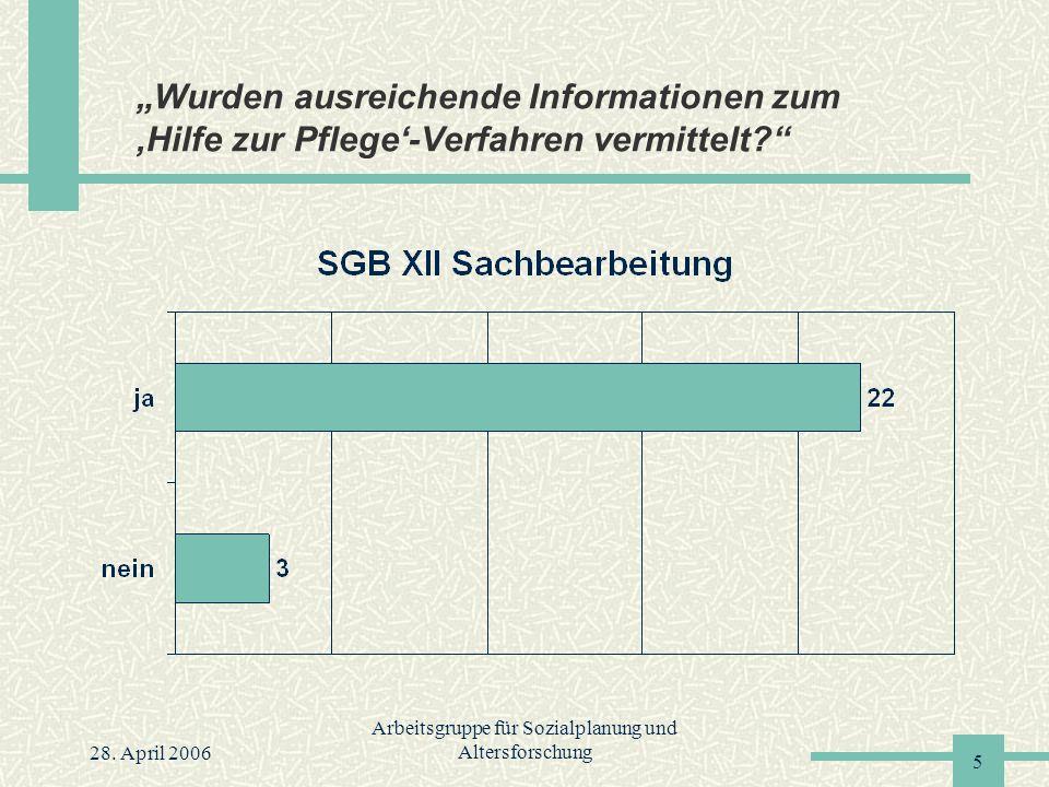 """28. April 2006 Arbeitsgruppe für Sozialplanung und Altersforschung 5 """"Wurden ausreichende Informationen zum 'Hilfe zur Pflege'-Verfahren vermittelt?"""""""