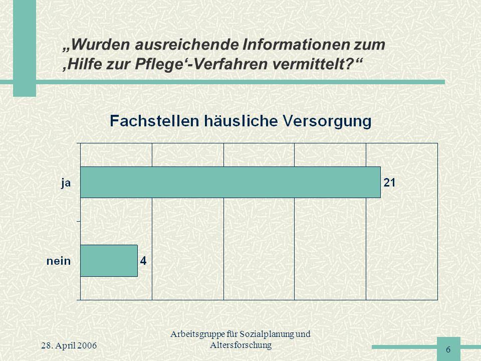 """28. April 2006 Arbeitsgruppe für Sozialplanung und Altersforschung 6 """"Wurden ausreichende Informationen zum 'Hilfe zur Pflege'-Verfahren vermittelt?"""""""