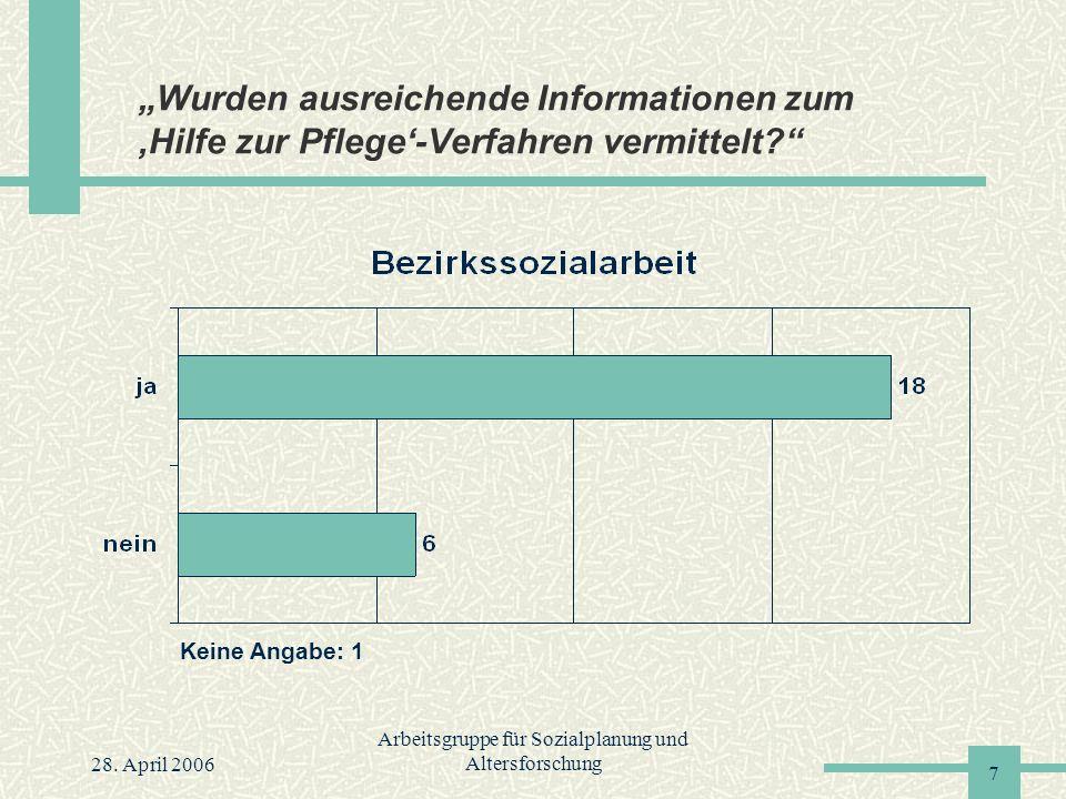 """28. April 2006 Arbeitsgruppe für Sozialplanung und Altersforschung 7 """"Wurden ausreichende Informationen zum 'Hilfe zur Pflege'-Verfahren vermittelt?"""""""