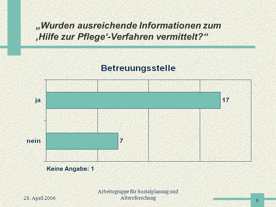 """28. April 2006 Arbeitsgruppe für Sozialplanung und Altersforschung 8 """"Wurden ausreichende Informationen zum 'Hilfe zur Pflege'-Verfahren vermittelt?"""""""
