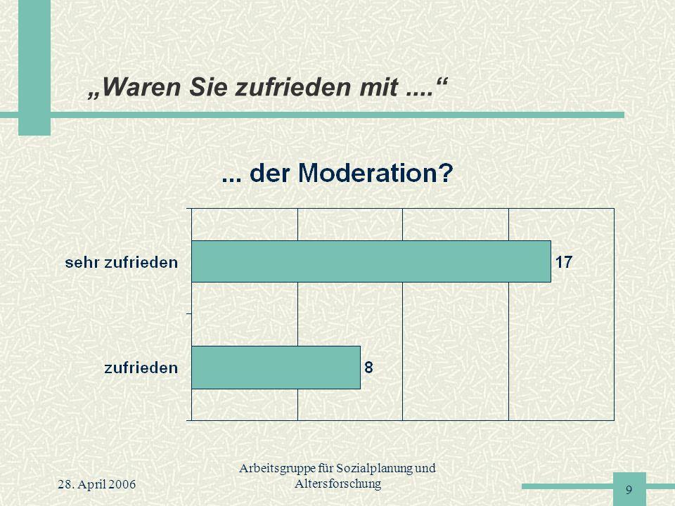 """28. April 2006 Arbeitsgruppe für Sozialplanung und Altersforschung 9 """"Waren Sie zufrieden mit...."""