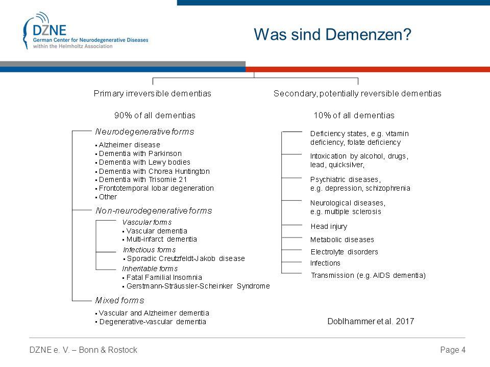 Page 4DZNE e. V. – Bonn & Rostock Was sind Demenzen Doblhammer et al. 2017