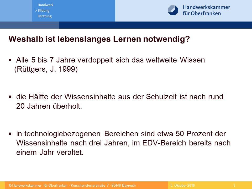 © Handwerkskammer für Oberfranken · Kerschensteinerstraße 7 · 95448 Bayreuth 4 Kompetenzzentrum für Technologie- und Innovationsmanagement Fertigungstechnik AutomatisierungKFZ-Diagnose Multimedia Distributionszentrum Hochgeschwindigkeits- Netz 5.