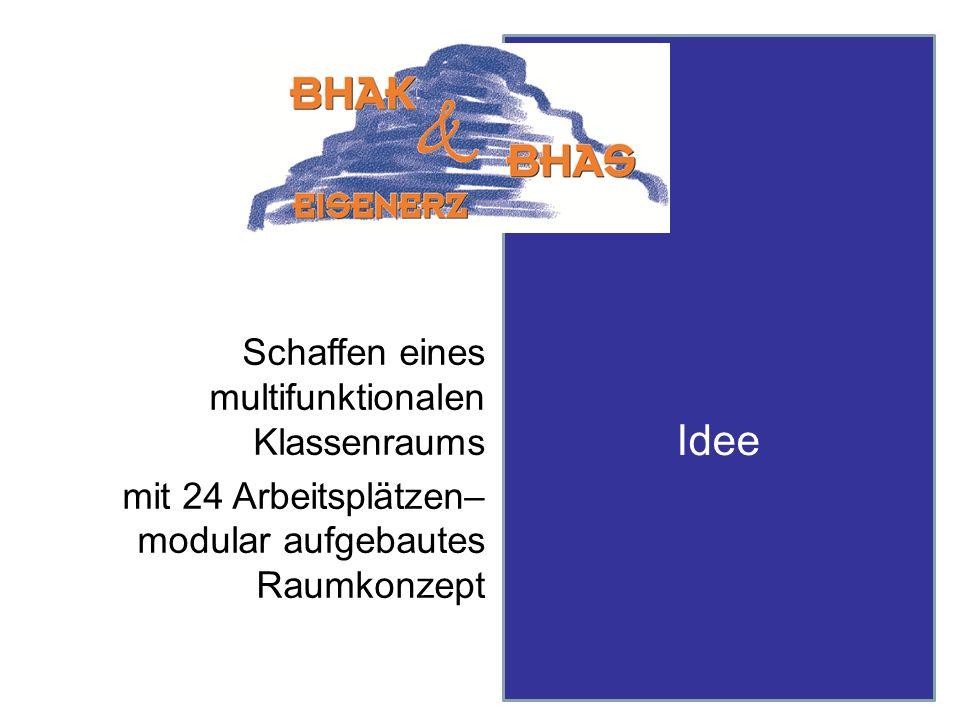 Idee Schaffen eines multifunktionalen Klassenraums mit 24 Arbeitsplätzen– modular aufgebautes Raumkonzept