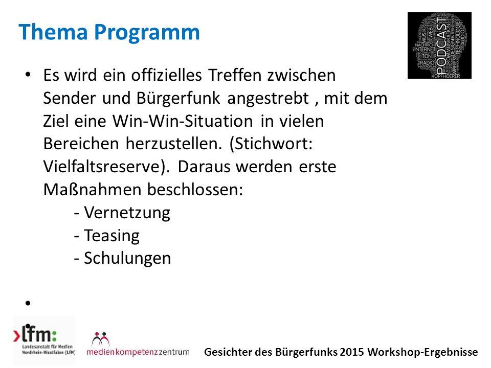 Thema Programm Gesichter des Bürgerfunks 2015 Workshop-Ergebnisse Es wird ein offizielles Treffen zwischen Sender und Bürgerfunk angestrebt, mit dem Ziel eine Win-Win-Situation in vielen Bereichen herzustellen.