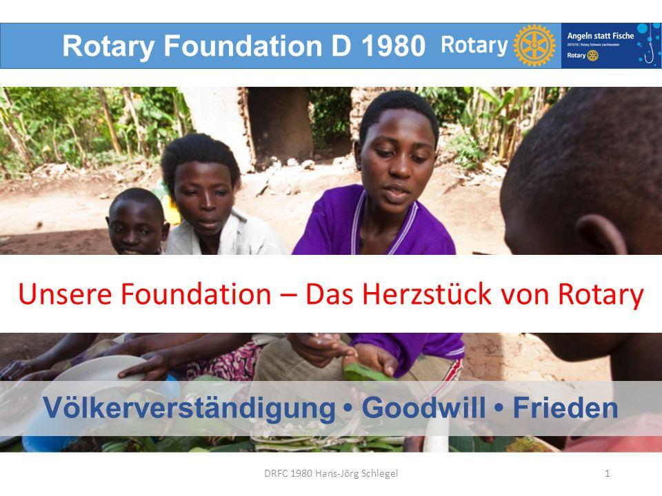 Rotary Foundation D 1980 Völkerverständigung Goodwill Frieden 1DRFC 1980 Hans-Jörg Schlegel Unsere Foundation – Das Herzstück von Rotary