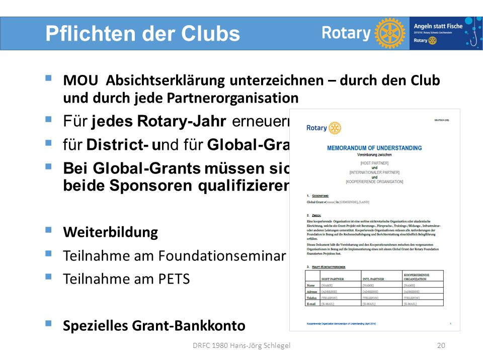 Pflichten der Clubs  MOU Absichtserklärung unterzeichnen – durch den Club und durch jede Partnerorganisation  Für jedes Rotary-Jahr erneuern  für District- und für Global-Grants  Bei Global-Grants müssen sich beide Sponsoren qualifizieren  Weiterbildung  Teilnahme am Foundationseminar  Teilnahme am PETS  Spezielles Grant-Bankkonto 20DRFC 1980 Hans-Jörg Schlegel