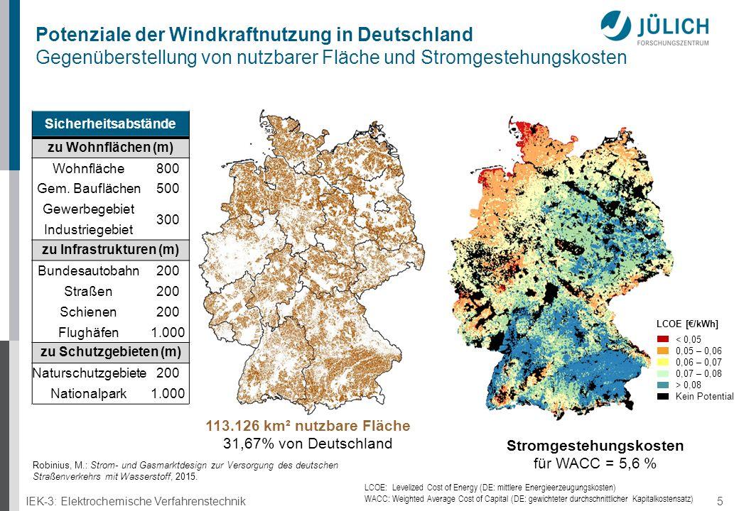 IEK-3: Elektrochemische Verfahrenstechnik 5 Potenziale der Windkraftnutzung in Deutschland Gegenüberstellung von nutzbarer Fläche und Stromgestehungskosten LCOE [€/kWh] < 0,05 0,05 – 0,06 0,06 – 0,07 0,07 – 0,08 > 0,08 Kein Potential Stromgestehungskosten für WACC = 5,6 % LCOE: Levelized Cost of Energy (DE: mittlere Energieerzeugungskosten) WACC: Weighted Average Cost of Capital (DE: gewichteter durchschnittlicher Kapitalkostensatz) 113.126 km² nutzbare Fläche 31,67% von Deutschland Sicherheitsabstände zu Wohnflächen (m) Wohnfläche800 Gem.