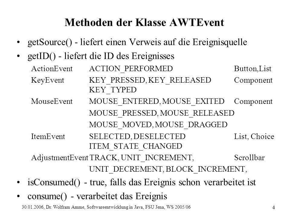 30.01.2006, Dr. Wolfram Amme, Softwareentwicklung in Java, FSU Jena, WS 2005/06 4 Methoden der Klasse AWTEvent getSource() - liefert einen Verweis auf